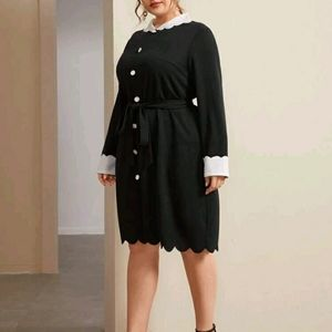 NEW Plus Collar Self Belted Dress